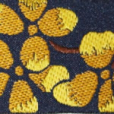 Blossoms (yellow on navy) 1.5 inch
