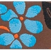 Blossoms - Aqua on Brown 1.5 inch
