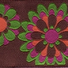 Retro Flowers in Green Orange and Purple 1.5 inch