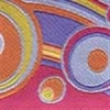 Geometric Circles and Waves (pink and orange) 1 inch
