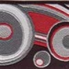 Geometric Circles and Waves (red and grey) 1 inch